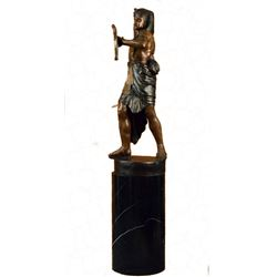 Egyptian King Tut Heavy Bronze Sculpture on Marble Base Figurine