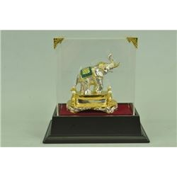 Gold Plexiglases Indian Elephants Sculpture