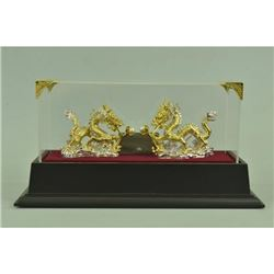 Gold Plexiglases Dual Dragons Sculpture