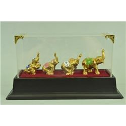 Gold Plexiglases Elephant Chain Sculpture