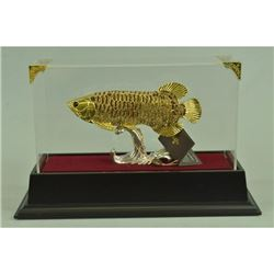 Gold Plexiglass Fish with Crystals Sculpture