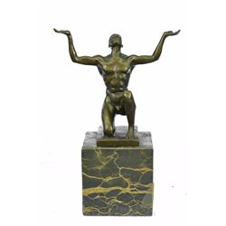 Nude Naked Male Bronze Sculpture on Marble Base Statue