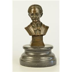 Austrian Composer Johann Strauss on Marble Base Sculpture
