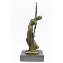 Belly Dancer Bronze Sculpture on Marble Base Statue