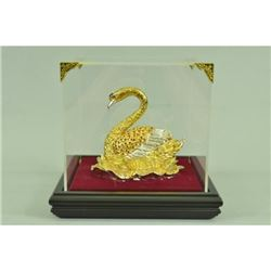 Gold Plexiglases Swan with Rubies Sculpture