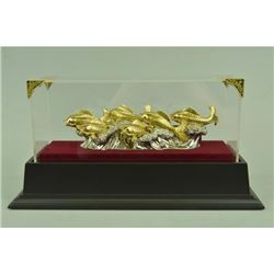 Gold Plexiglases Fishes Ocean Sculpture