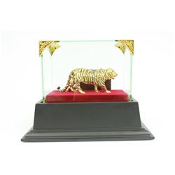 Gold Plexiglases With Glass Display Tiger Sculpture