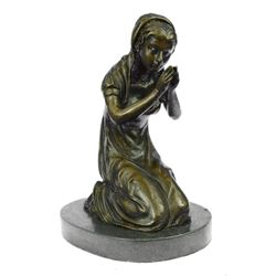 Mother Virgin Mary Praying Bronze Sculpture on Marble Base Statue