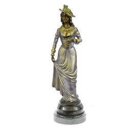 French Gal Bronze Figurine on Marble Base Sculpture
