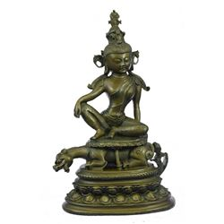 Buddhism Kwan-Yin Dragon Bronze Statue