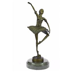 Ballerina Dancer Bronze Figurine on Marble Base Statue
