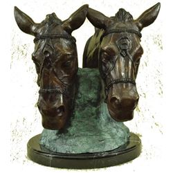 Two Horses Head Bust Bronze Sculpture on Marble Base Figurine