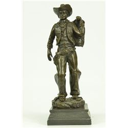 Classic Cowboy Bronze Sculpture on Marble Base Figurine