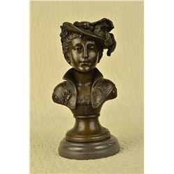 Nude Female Bust Bronze Sculpture on Marble Base Statue