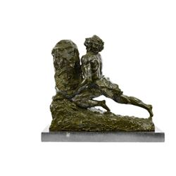 Male Pushing Stone Bronze Sculpture