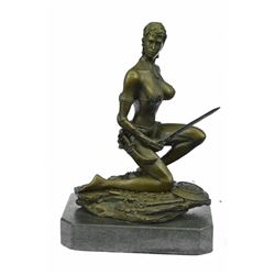 Amazon Nude Woman With Sword Bronze Statue