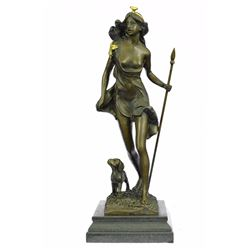 Nude Diana the Huntress and her Dog Bronze Sculpture