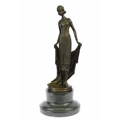 Young Flapper Bronze Sculpture on Marble Base Statue