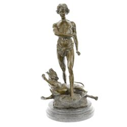 Youth and Leopard Bronze Sculpture