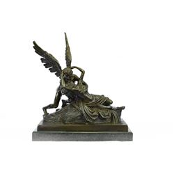 Psyche Lovers Bronze Statue on Marble Base Sculpture