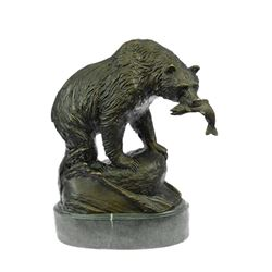 Bear With Catch of The Day Bronze Sculpture