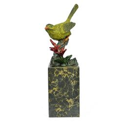 Multi Color Patina Love Bird Bronze Sculpture