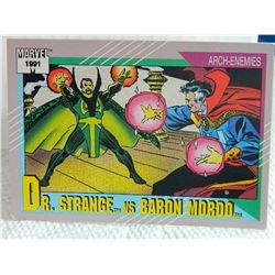 MARVEL COLLECTOR CARD IN CLEAR SLEEVE - 1991 IMPEL - NEAR MINT - #110 - DR.STRANGE VD BARON MORDO -