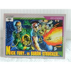 MARVEL COLLECTOR CARD IN CLEAR SLEEVE - 1991 IMPEL - NEAR MINT - #111 - NICK FURY VS BARONO STRUCKER