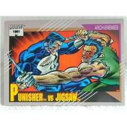 MARVEL COLLECTOR CARD IN CLEAR SLEEVE - 1991 IMPEL - NEAR MINT - #100 - PUNISHER VS JIGSAW
