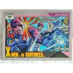 MARVEL COLLECTOR CARD IN CLEAR SLEEVE - 1991 IMPEL - NEAR MINT - #106 - X-MEN VS SENTINELS