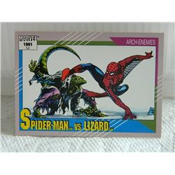 MARVEL COLLECTOR CARD IN CLEAR SLEEVE - 1991 IMPEL - NEAR MINT - #112 - SPIDER-MAN VS LIZARD