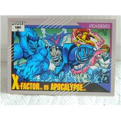 MARVEL COLLECTOR CARD IN CLEAR SLEEVE - 1991 IMPEL - NEAR MINT - #101 - X-FACTOR VS APOCALYPSE