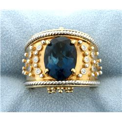 Designer Dallas Prince London Blue Topaz and Diamond Ring