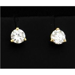 1/2 ct Diamond Stud Earrings in 14K Yellow Gold Martini Settings