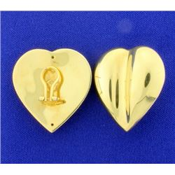 Italian Made Large Heart Earrings with French Backs