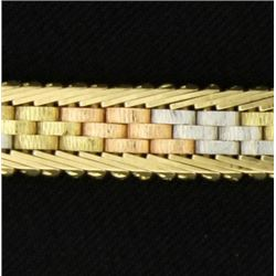 Italian Made Yellow, White, & Rose Gold Bracelet