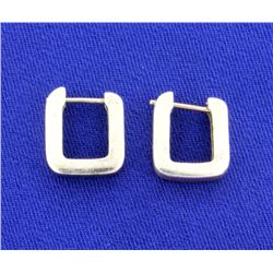 """U"" Shaped White Gold Earrings"