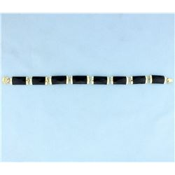 Onyx & 14K Gold Chinese Good Fortune Bracelet