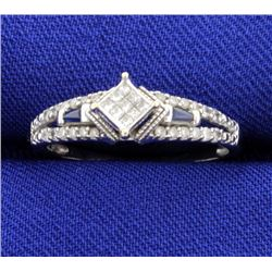 1/2ct TW Invisible Set Diamond and Sapphire Ring