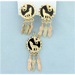 Dream catcher Pendant & Earrings Set