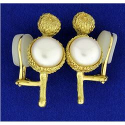 Vintage 18k Mabe Pearl Clip-On Earrings