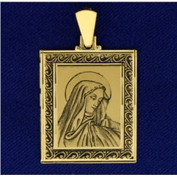 Hand Etched Virgin Mary Pendant n 18k Gold