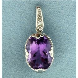 6ct Amethyst and Diamond Pendant