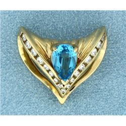 Blue Topaz and 1/2 ct TW Diamond Slide for Omega or Chain