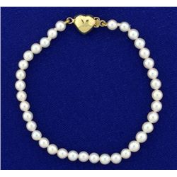 Akoya Pearl Bracelet with 14k Gold Heart Clasp