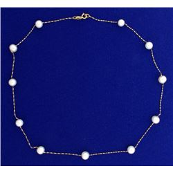 15 Inch Akoya Pearl Station Necklace in 14k Yellow Gold