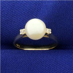 Akoya Pearl and Diamond Ring in 14k Gold