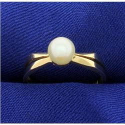 Solitaire Akoya Pearl Ring in 14k Gold