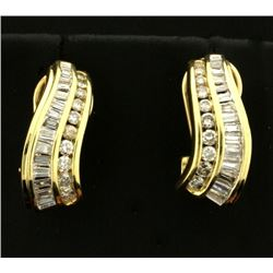 1ct TW Baguette and Round Diamond Earrings in 14k Gold