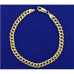 Italian Made Solid Curb Link Bracelet in 14K Yellow Gold